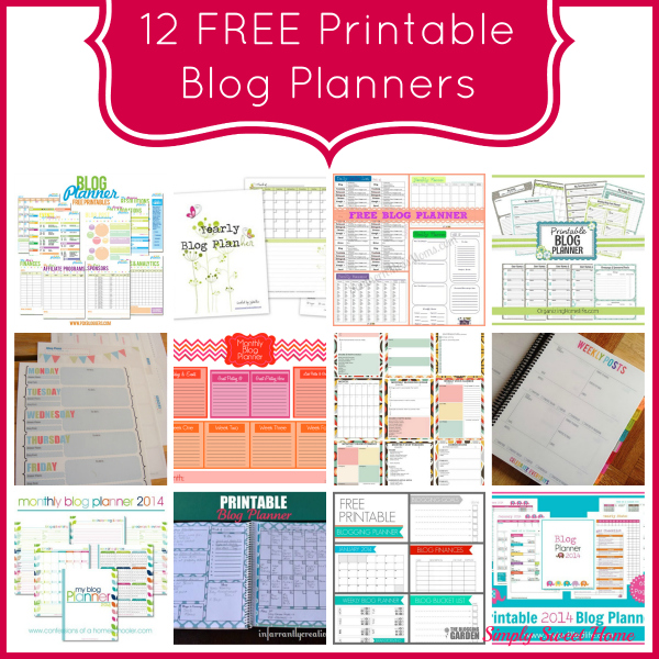 12 Free Printable Blog Planners