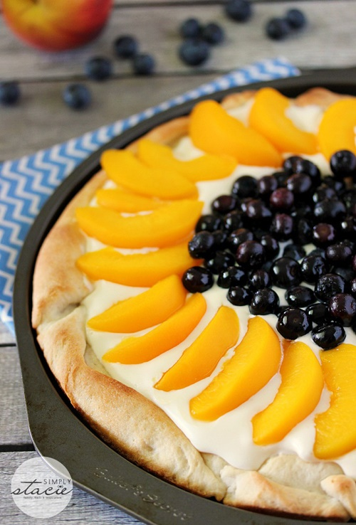 Peach and Blueberry Pizza