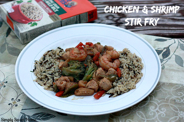Chicken and Shrimp Stir Fry with Uncle Bens Rice