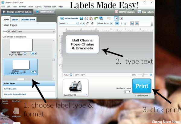 Dymo Printing Screen