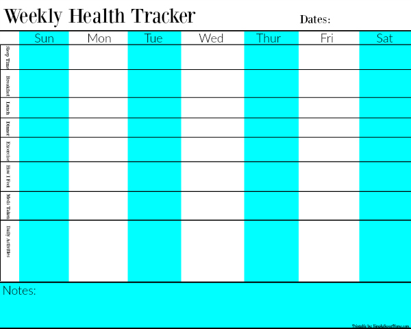 Weekly Health Tracker Chart