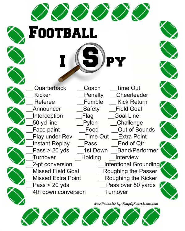 Football I Spy Printable Preview