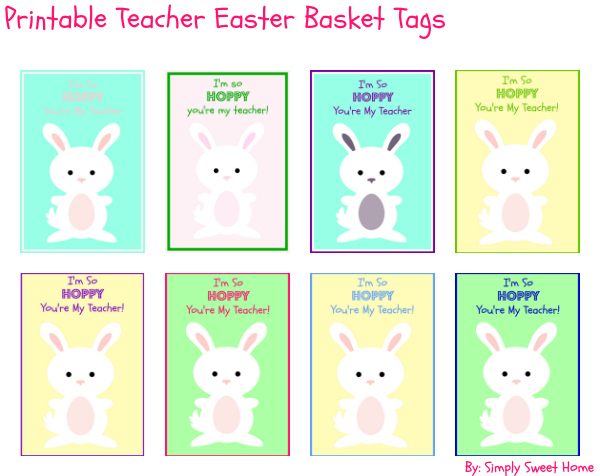 Printable Teacher Easter Basket Tags Graphic