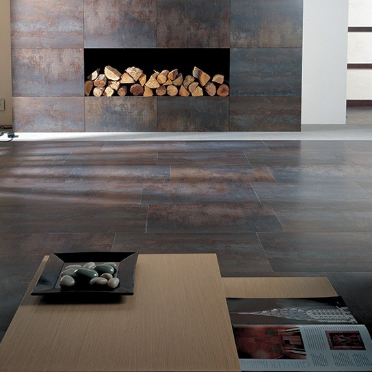 ferroker_export ceramic and natural stone living room floor and fireplace