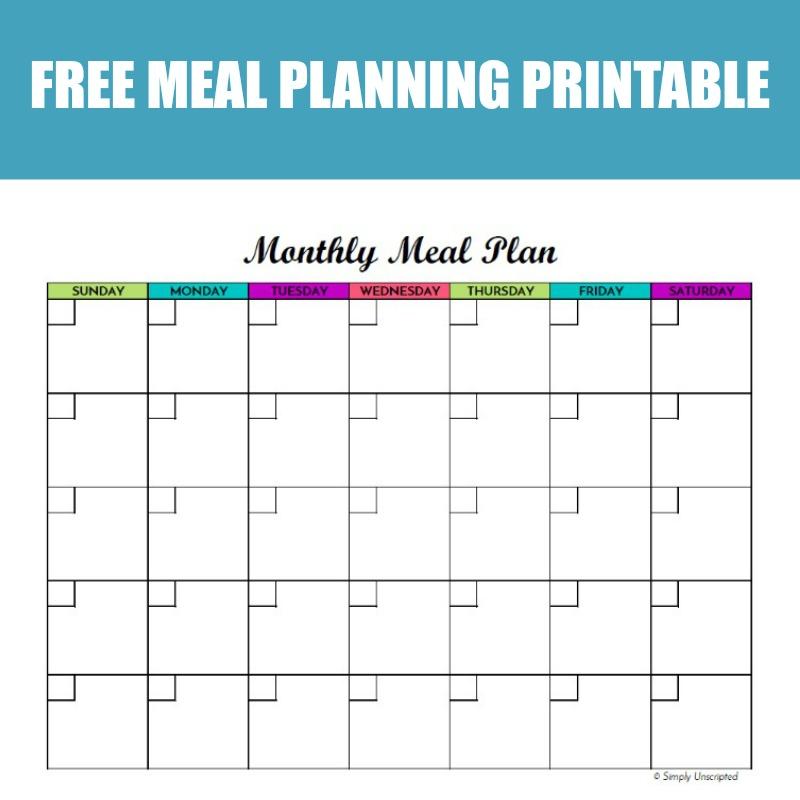 blank menu planner