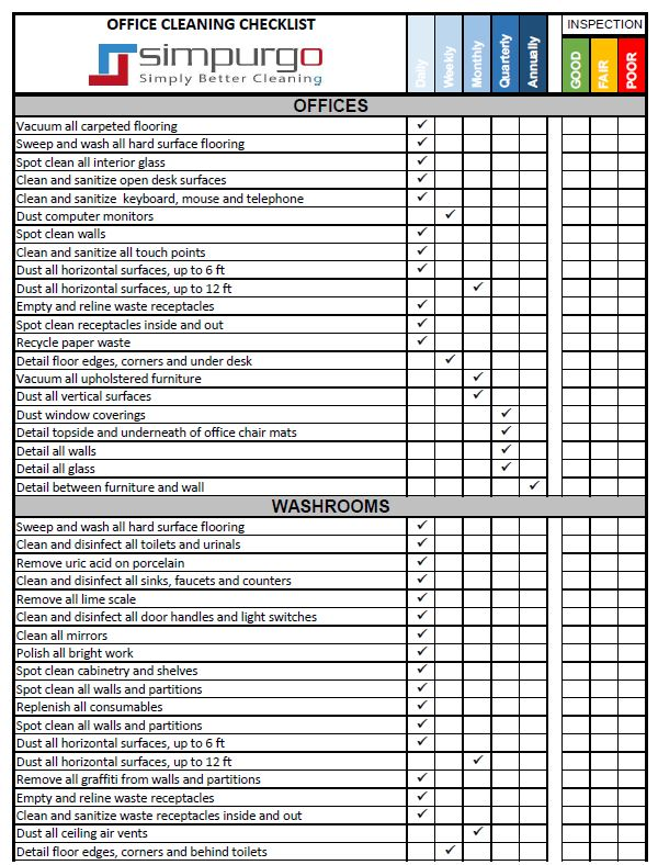 Office Cleaning Checklist And Inspection Template  Simpurgo