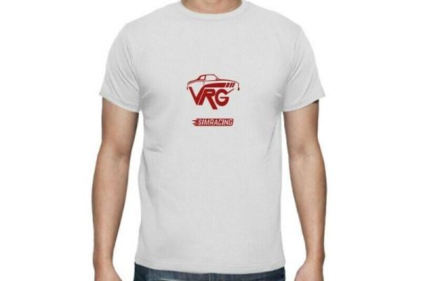 camiseta simracing blaca con coche rojo