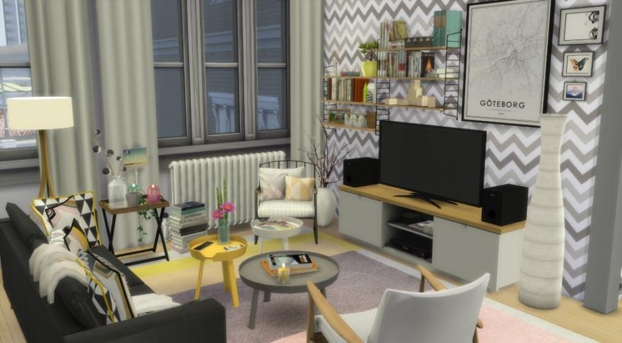 Sims 4 appartement apartment scandinavian style scandinave custom content cc contenu personnalis