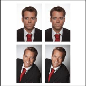 Passbild mit Mann mit roter Krawatte und kurzen braunen Haaren.