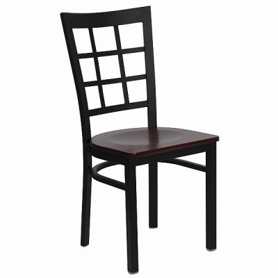 black metal window back chair