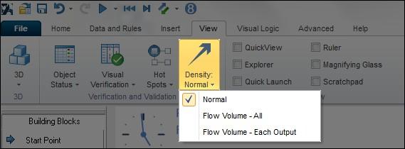 SIMUL8 screen shot showing path densities