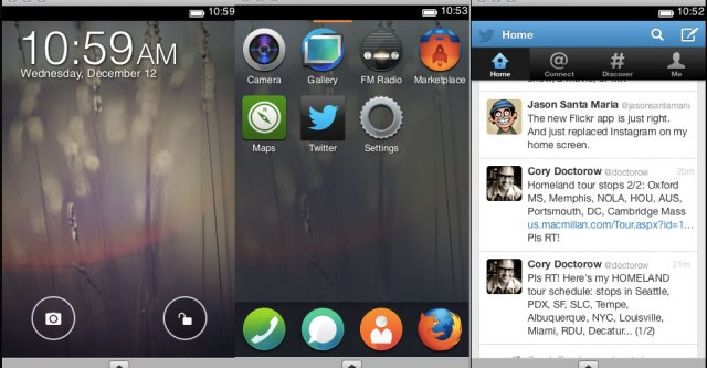 Screenshot della simulazione del sistema operativo mobile Mozilla