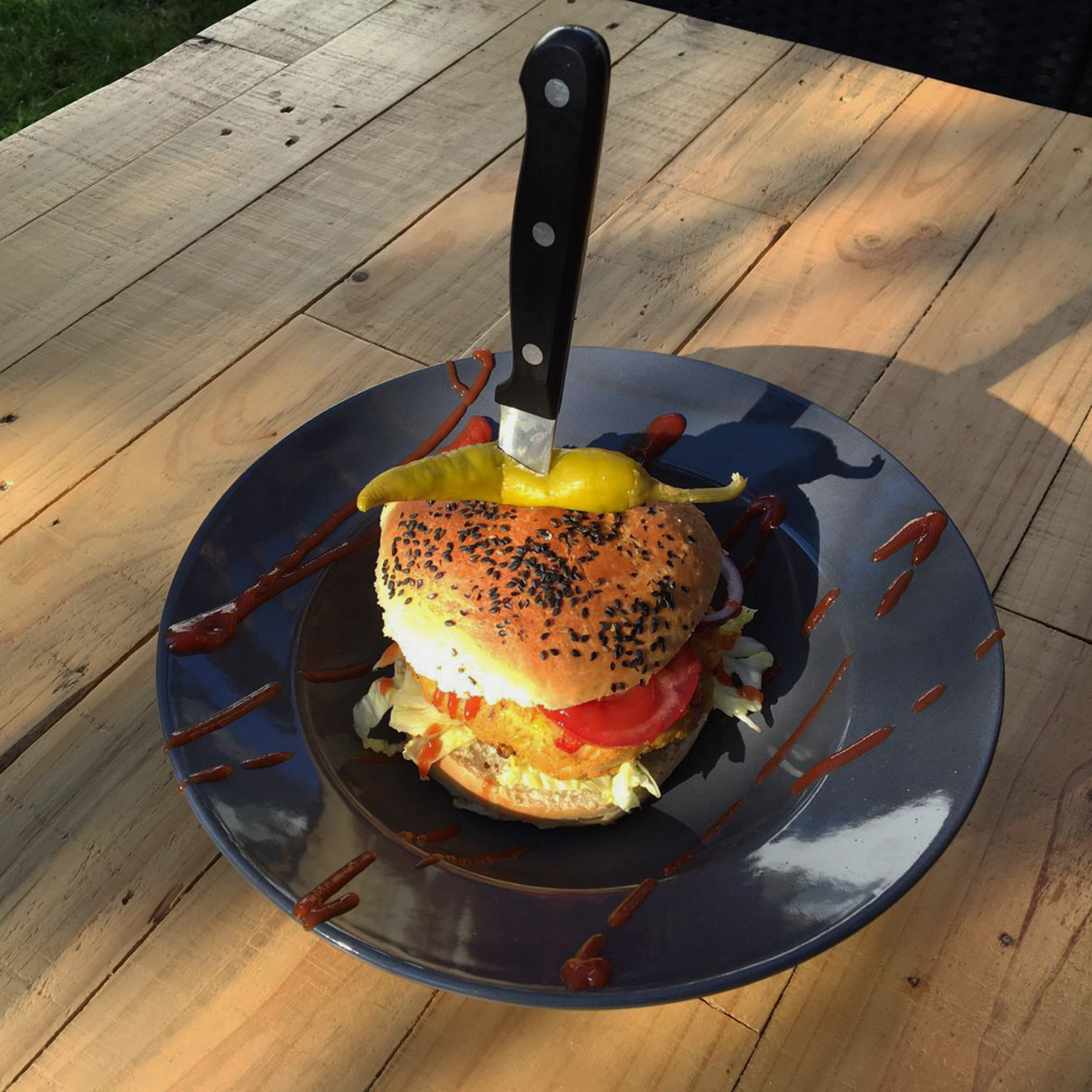 Vegan chili burger sin carne