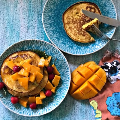 Mango Pancakes – Eggless & Wholewheat