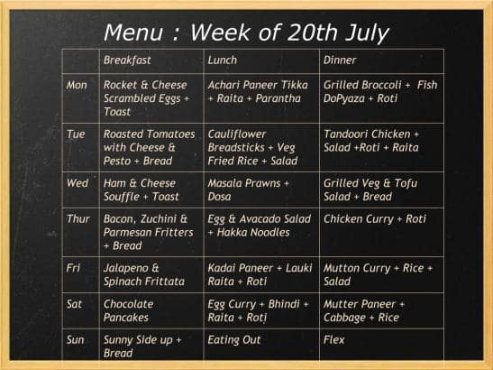 menu of the week