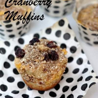Whole Wheat Lemon & Cranberry Muffins