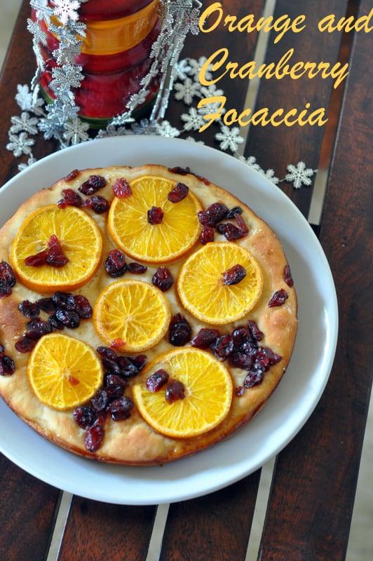 Orange and cranberry sweet focaccia