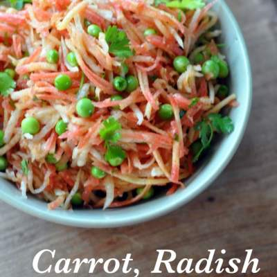 Winter in a bowl : Carrot, Radish & Peas Salad