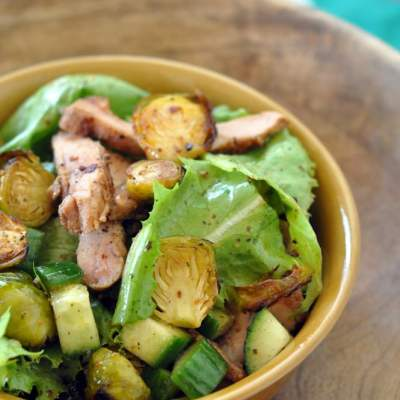 Grilled Chicken, Brussels Sprouts Salad with Orange Ginger Dressing