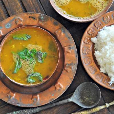 Raw Mango and Mint Rasam (A Summer Indian Style Soup)