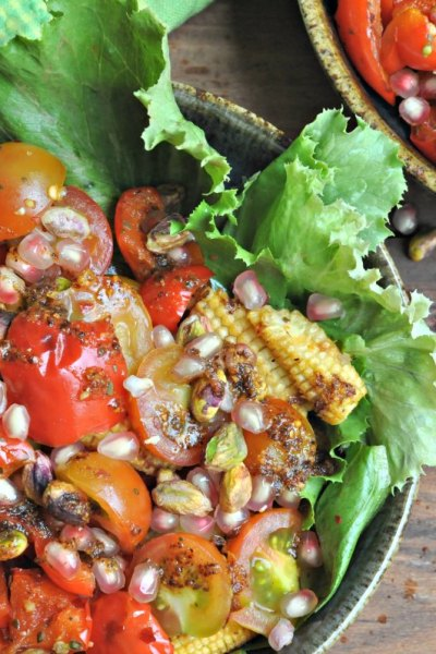 Roasted Bell Pepper Salad with a Podi Spiced Dressing