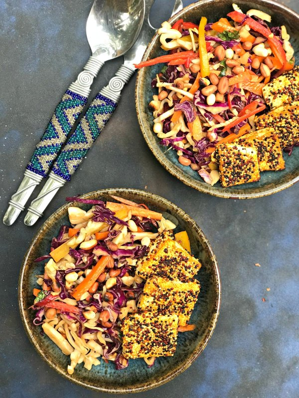 Quinoa Crusted Tofu salad