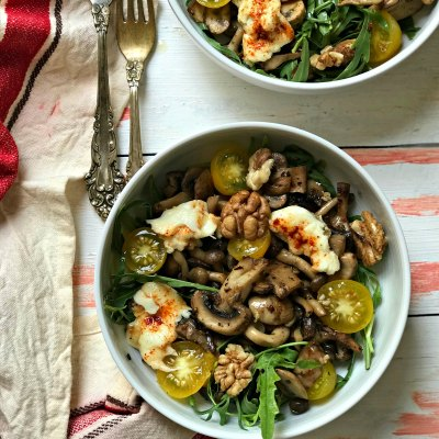 Warm Mushroom Salad with Arugula & Walnuts
