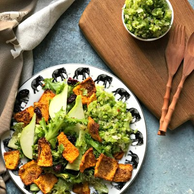 Roasted Yam Salad with Green Tomato Salsa