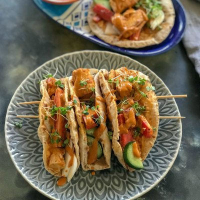 Red Curry Fish Tacos with wheat & Jowar Taco Shells