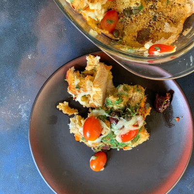 Savoury Bread Pudding with Spinach, Olives & Cheese