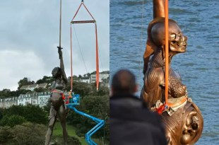 Fotos polémicas de una escultura sobre el aborto