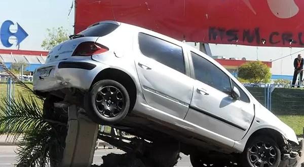 Insólito: Choque termina con un auto arriba de una palmera