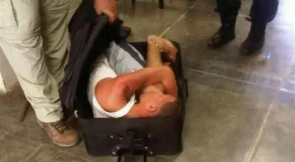 Preso intentó escaparse dentro de una valija - Foto