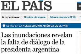 Así ve el diario 'El País' las inundaciones de Argentina