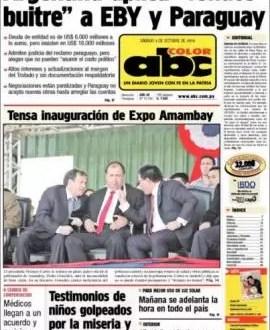 """Diario paraguayo dice que Argentina es """"buitre"""" por la deuda de Yacyretá"""