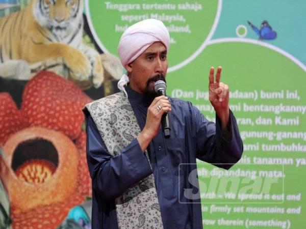 Pendakwah terkenal, Ustaz Don Daniyal turut menyampaikan tazkirah bertajuk Pesan Dari Gua dalam program berkenaan. - FOTO ASRIL ASWANDI SHUKOR