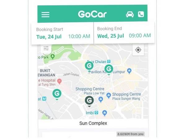 APLIKASI GoCar memudahkan pengguna untuk menyewa kenderaan.