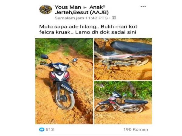 Hanis berjaya dijejaki selepas Mohd Hafiz membaca entri di laman sosial Facebook Anak-Anak Jertih berhubung penemuan motosikal yang ditunggang Hanis.