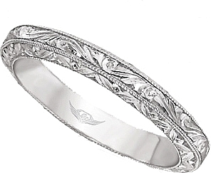FlyerFit Hand Engraved Wedding Band 5137SOLWB AENG