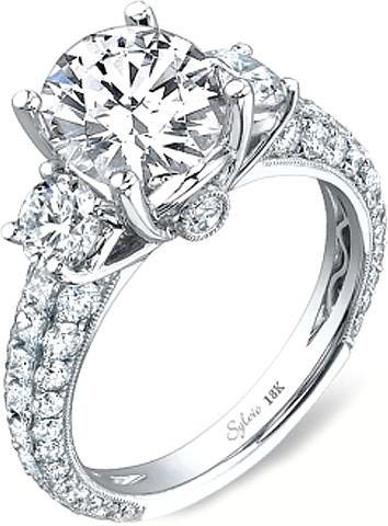Sylvie Three Stone Diamond Engagement Ring SY113