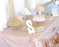 Pink White And Gold Baby Shower Ideas - w Wall Decal