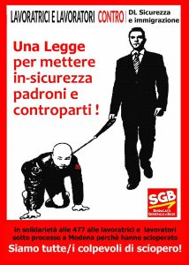 Siamo tutte/i colpevoli di sciopero! ABOLIRE LA LEGGE sulla SICUREZZA e IMMIGRAZIONE
