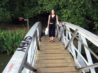 Antonia on a bridge beside the Isis