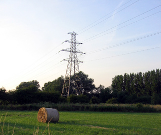 Fields and high voltage electricity towers