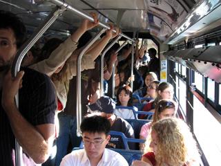 Crowded 99 B-Line bus near UBC
