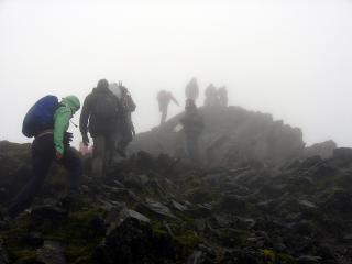 Climbing Snowdon in the fog