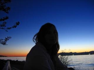 Astrid Fritzsche and the setting sun