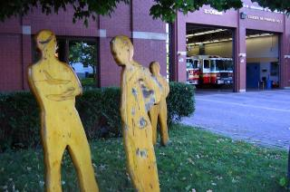 Human shapes and fire engines