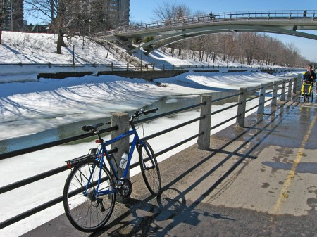 Bike beside the Rideau Canal in spring