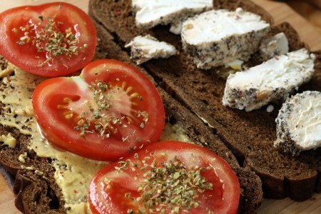 Goat cheese and tomato sandwich